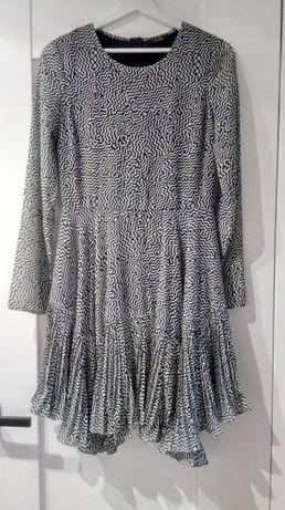 elegancka sukienka Fracomina r. S z długim rękawem czarno biała wzory