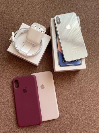 iPhone X 64Gb с AirPods в отличном состоянии. 2 чехла в подарок!