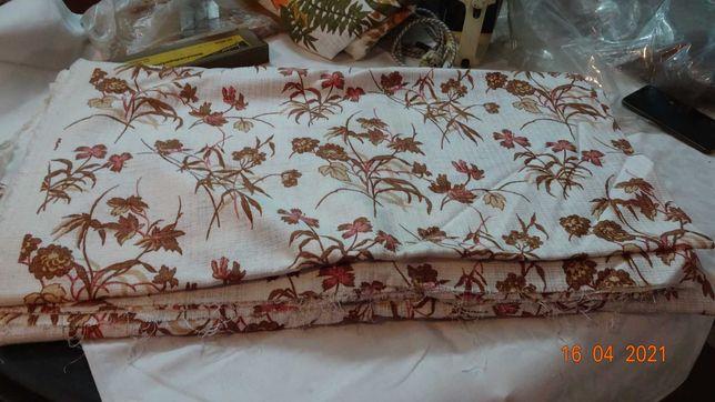 Materiał zasłonowy biało-brązowy kwiaty dwa kupony 2x 150x600, ok.12m