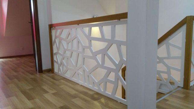 Solidna balustrada ażurowa panele 3D nowoczesny styl montaż na wymiar