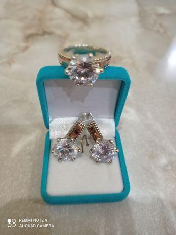 Серьги серёжки кольцо серебро с золотом