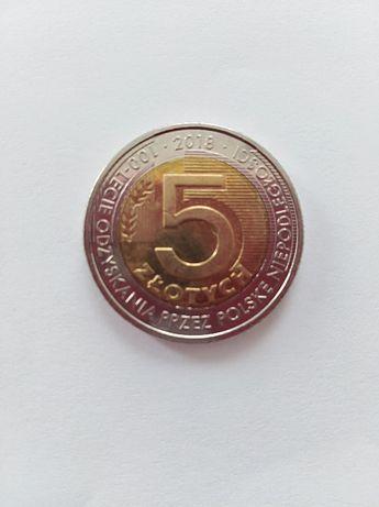 Moneta 5 zł 100- lecie odzyskania przez Polskę niepodległości