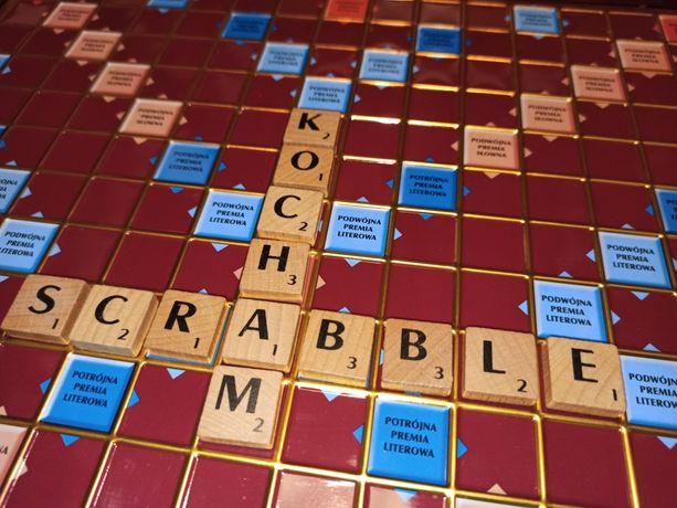 Scrabble deluxe drewniane kostki obrotowa plansza
