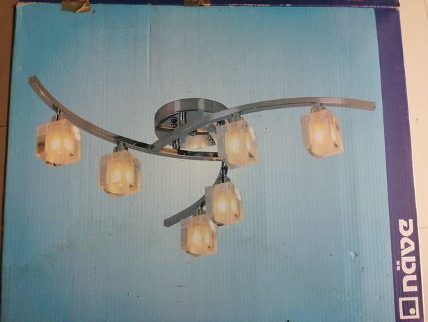 Żyrandol lampa salon 6x kryształek NOWY