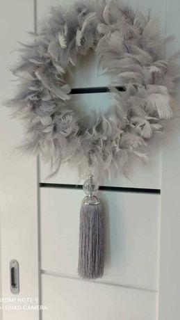 Wianek z piór chwost kwiaty duży glamour na drzwi ścianę