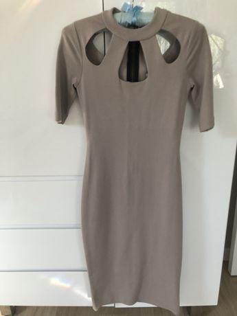 Sukienka tuba River Island beżowa dekolt stójka xs 34 xxs 32