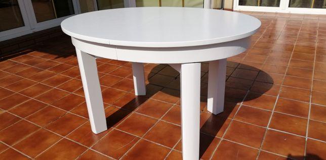 Stół owalny biały na czterech nogach rozkładany art deco prl