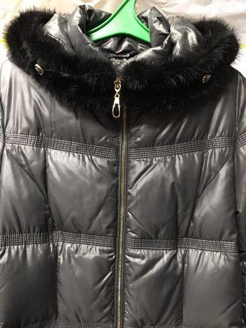Пальто пуховик, куртка зима, натуральный мех, размер 46 (L)