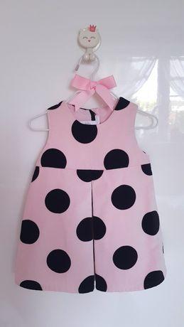 Sukienka H&M aksamit aksamitna welur welurowa grochy różowa unikat 80