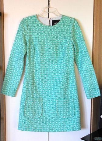 Sukienka SIMPLE kwiaty zielona biała niebieska ślub 36 S liu jo gucci