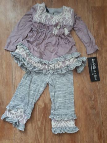 Новый костюм для девочки лосины с туникой ~1-1,5 лет