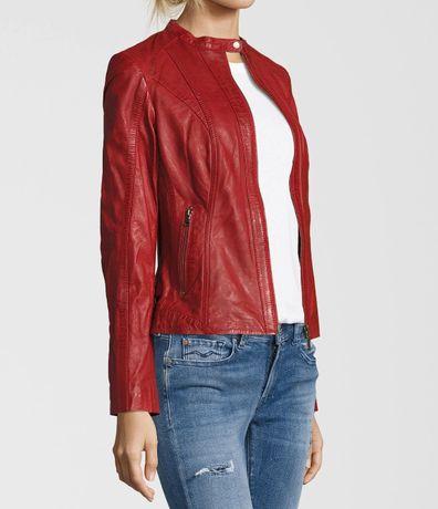 Ramoneska skórzana kurtka skóra naturalna czerwona r. XS/S