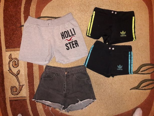 Hollister damskie krótkie spodenki r. L, 2XL, Levi's S/M, Adidas r.XS