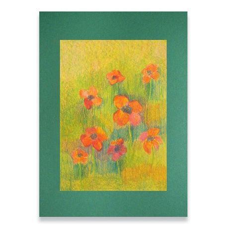 ładny rysunek z łąką,łąka obrazek,kwiaty szkic pastele,obrazek z kwiat