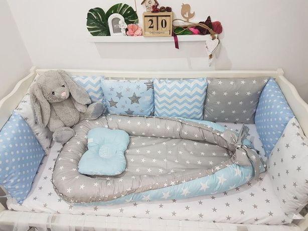 Бортики для кроватки, 12 подушек, кокон и ортопедическая подушка
