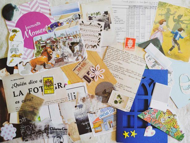 Pack Papelaria: Papéis Vintage, Autocolantes, Washi, Journaling Cards