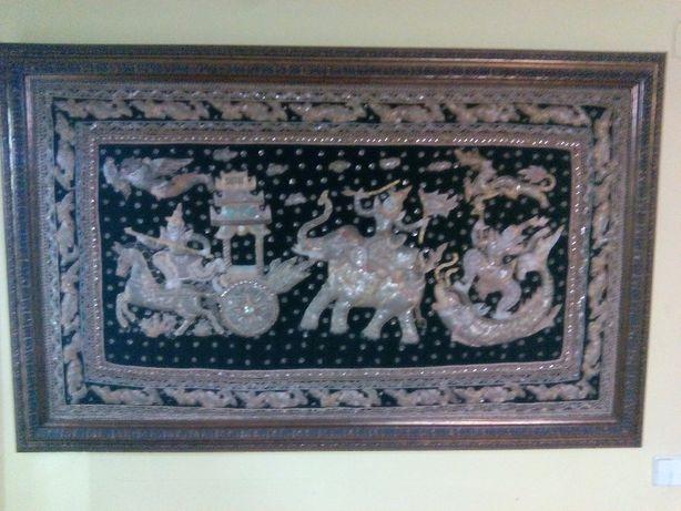 Quadro de tela de arte tailandesa com 1,6x1 m.