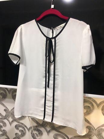 Шифоновая белая блуза блузка S M