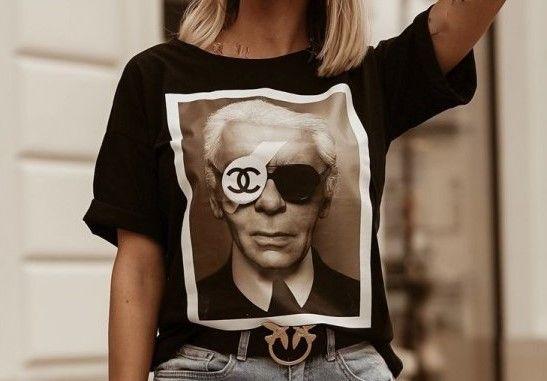 Cudna*Koszulka*Bluzka*T-Shirt*CHANEL*KARL LAGERFELD*Rozm.40 (L)*