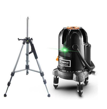 Лазерный уровень, нивелир DEKO DKLL57green луч 50метров+ШТАТИВ подарок