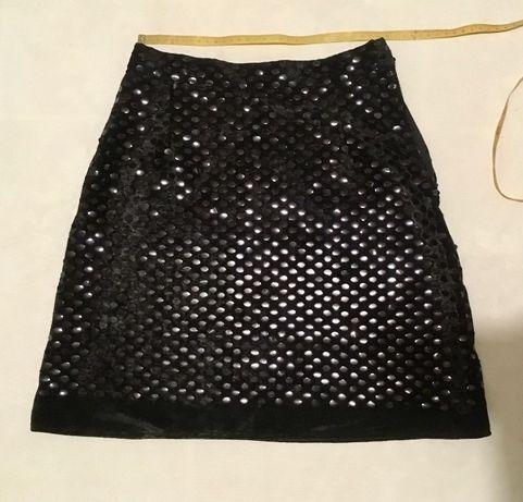 Юбка короткая размер 40 (XS) пайетки велюр чёрная нарядная спідничка