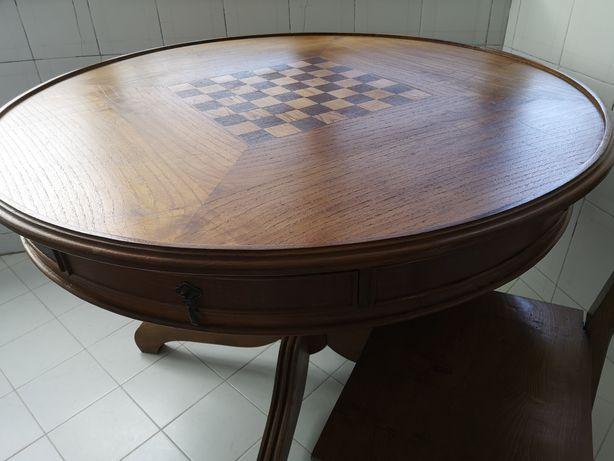 Mesa jogo redonda madeira carvalho + 4 cadeiras carvalho