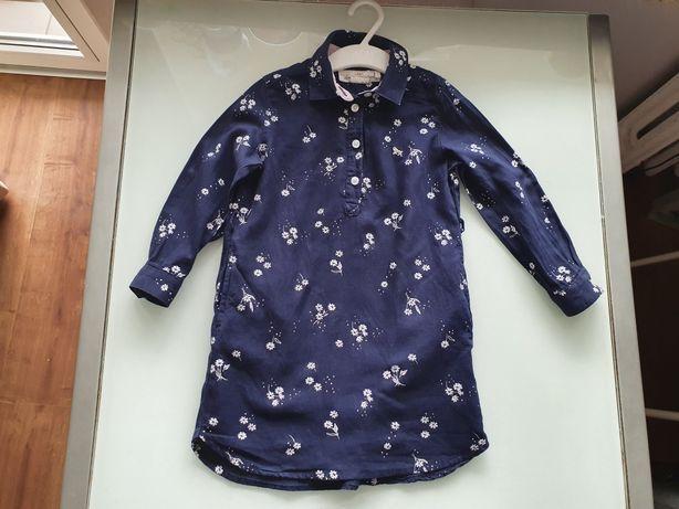 H&M fajna sukienka szmizjerka tunika w kwiatki 98 cm!