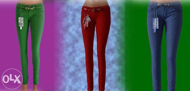 Spodnie jeansy rurki biodrówki kolorowe XS, S, M, L, XL, XXL NOWE