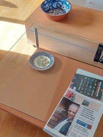 Mobiliário nórdico mesa centro tampo vidro + móvel TV castanho claro