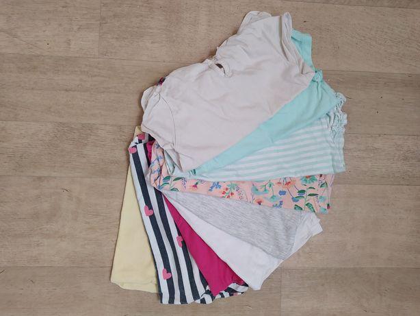 Zestaw bluzeczek z krótkim rękawem dla dziewczynki rozmiar 92