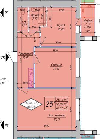2 комнатная квартира 62 кв.м. Софиевская Борщаговка,Петровский квартал