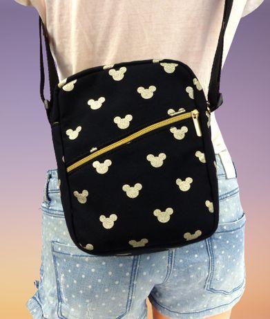 torba MIKI GOLD sholder bag brokatowa myszka na ramie