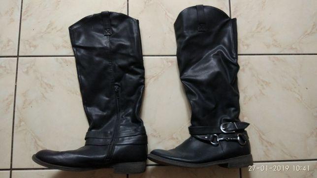 Buty damskie zimowe skórzane