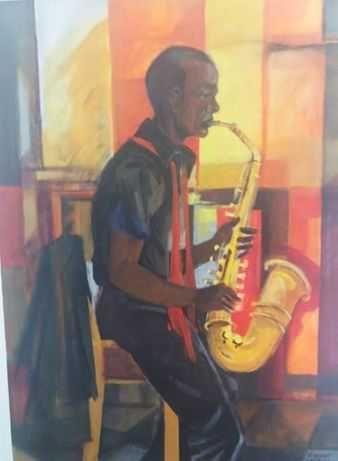 tela pintada original do pintor ernani oliveira (quadros)tema jazz