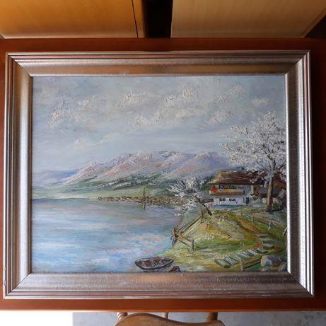 Stary obraz olejny na desce jezioro, dom, góry, srebrno-złota rama