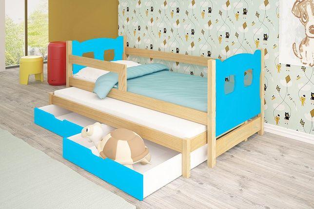 Łóżko dziecięce dwuosobowe Olek z szufladami oraz materacami gratis !