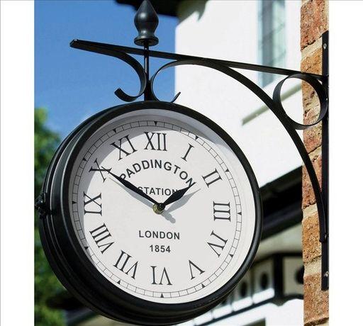Zegar Ogrodowy na Zewnątrz Paddington Okrągły Czarny Dwustronny