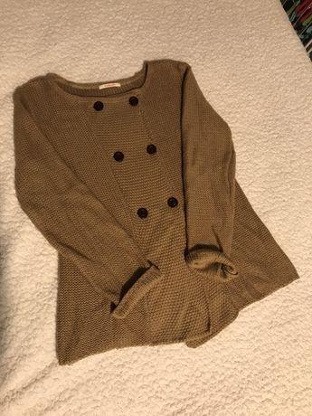 Dwurzędowy beżowy sweter kardigan CAMAIEU