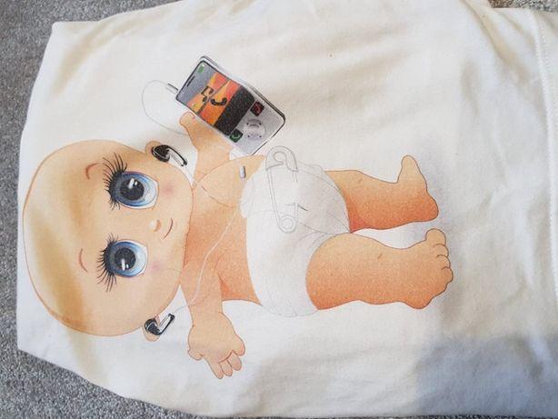 funny longsleeve bluzka biała ciążowa Branco