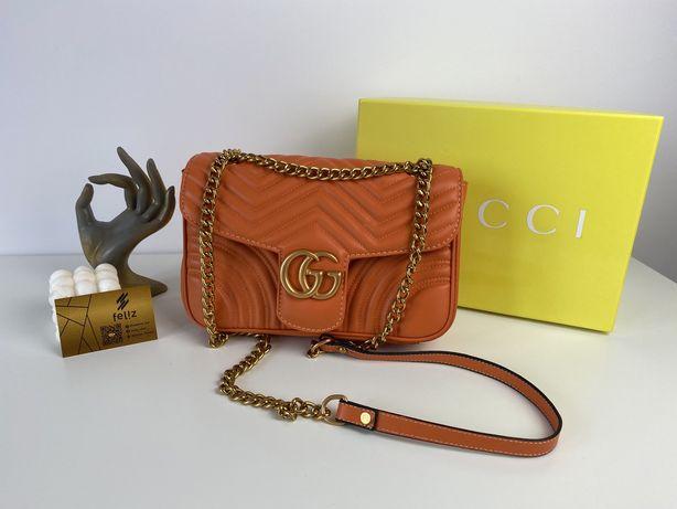 Torebka damska Gucci Marmont pomarańczowa Premium w pudełku GG