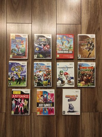 Nintendo Wii 10 gier - Super Mario Galaxy, Donkey Kong, Super Smash,MK