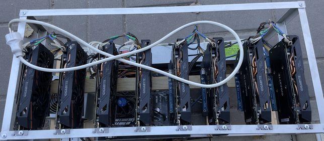 Майнинг Ферма 8x RX 580 8gb Gigabyte Gaming (242 m/hash) Ріг ТИХИЙ