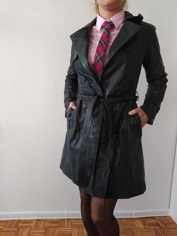 Płaszcz skórzany, czarny, rozmiar 34-36, skóra