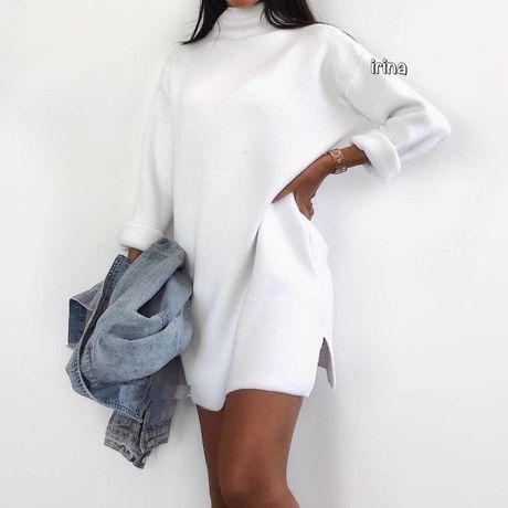 Белое платье туника для девочки подростка р.44
