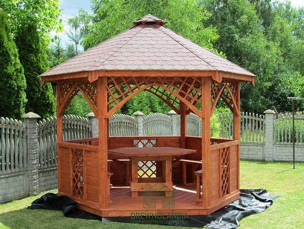 Altana altanka 3,2m stół ławki lite drewno wiata
