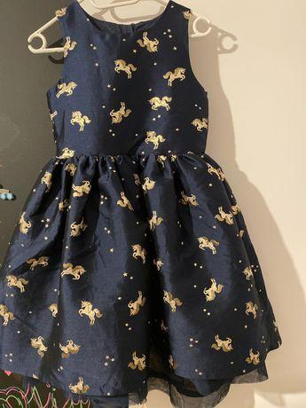 Granatowa sukienka w złote jednorożce h&m