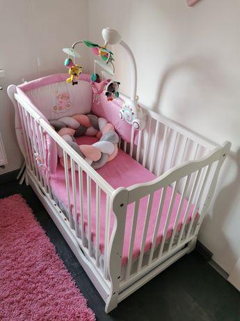 Łóżeczko niemowlęce 120x60, barierka, szuflada, zestawy pościeli