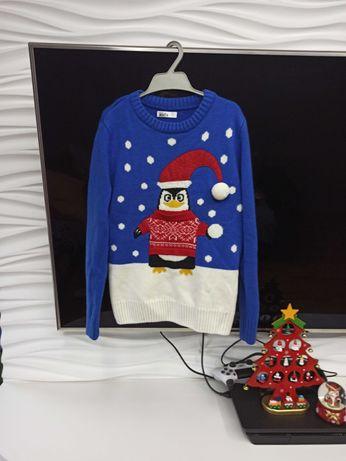 Новогодний свитер пингвин на рост 122-128 7-8 лет