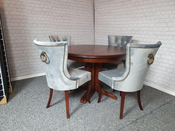 Krzesło z kołatką pinezkami pikowane chesterfield tapicerowane nowe