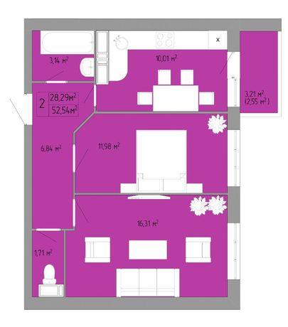 Продам 2 комнатную в новом доме рядом с центром. ЖК Акварель 3